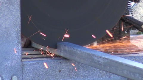 Sparks from Cutting Metal Bars (2) Live Action