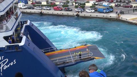 Ship Blue Star Paros at Port of Syros Island in Greece Footage