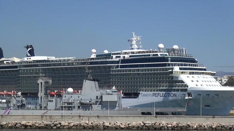 Cruise Ship at Port of Piraeus in Greece Footage