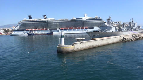 Entrance of Port of Piraeus with an Anchored Cruise Ship Footage