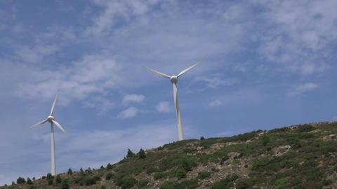 Wind Turbines on the Hill Footage