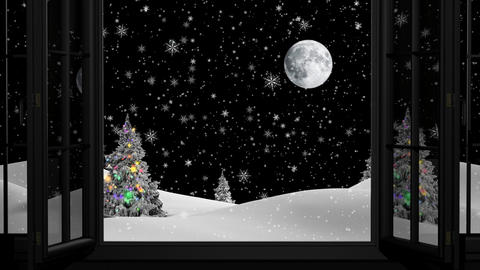 Christmas background with Christmas trees. New Year Footage