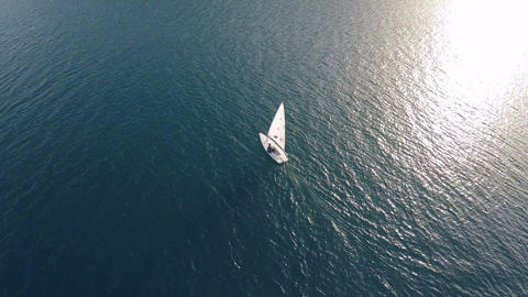 Small Sailboat in the Sea (1) Footage