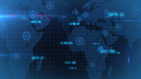 Business financial corporate data network world map background loop 01 Animation