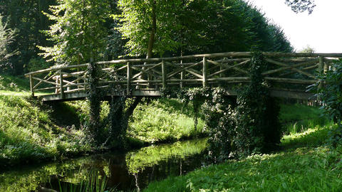 Small bridge on estate Oldruitenborgh Footage