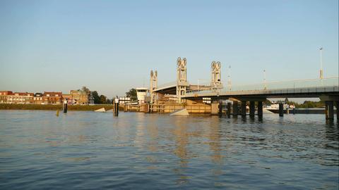 City bridge of Kampen opens, time lapse Footage