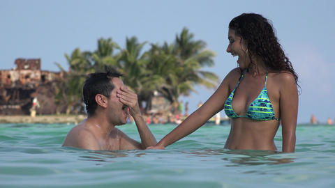 Dating Couple Having Fun On Tropical Vacation Stock Video Footage