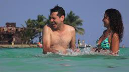People Swimming Splashing Water And Having Fun On Summer Vacation Footage