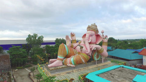 aerial view pink Ganesh in sun set time Footage
