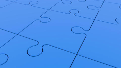 Moving rows of puzzle pieces with ball in blue Animation