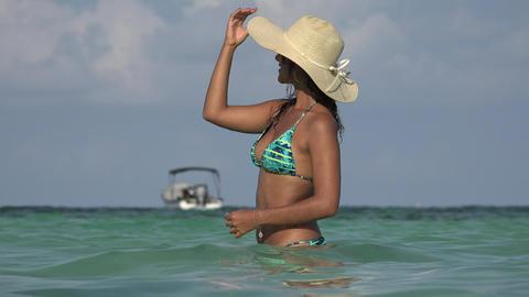 Woman Wearing Bikini In Ocean Live Action