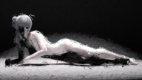 Digital artistic sketch animation of a female in black and white based on a self-created 3D Animation