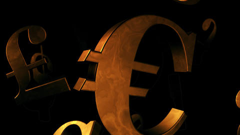 Golden Currency Symbols Falling Down In An Endless Seamless Video Loop Animation