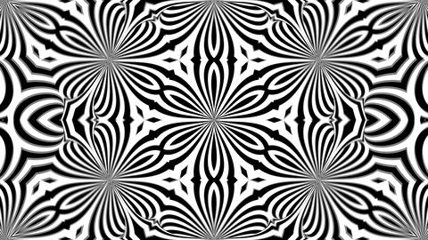 Abstract symmetry black and white kaleidoscope, 3d render backdrop, computer Live Action
