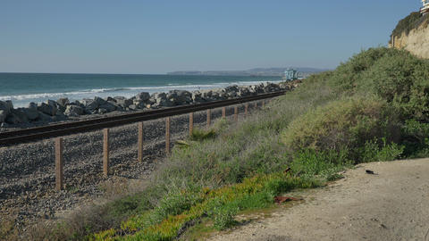Scenic Landscape Marine bluffs on the beach, railroad pacific surfliner San Live Action