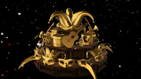 Golden Carnival Items On Wooden Display Rotate While Confetti Falls Down Seamlessly Looping Video Animation