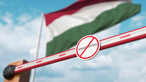 Open boom gate with no immigration sign on the Hungarian flag background Live Action