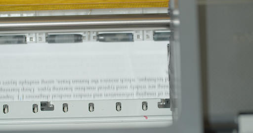 Closeup Printer printing document paper with inkjet printer. Equipment device Live Action