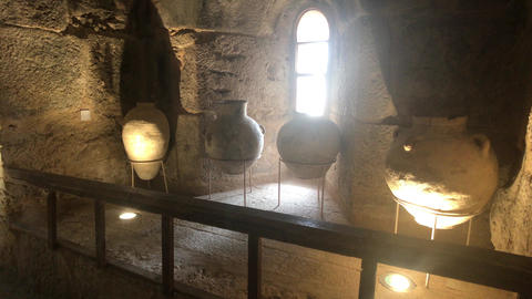 Ajloun, Jordan - stone rooms with illumination in the old castle part 7 Live Action