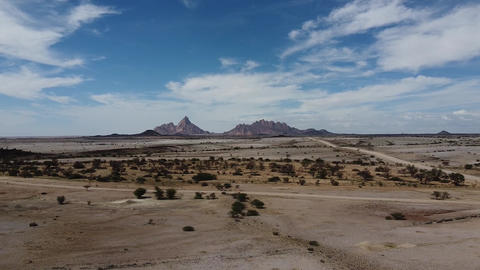 Drone footage of the Erongo region of Namibia, beautiful nature, mountains Live Action