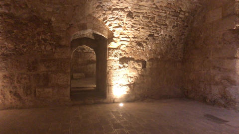 Ajloun, Jordan - stone rooms with illumination in the old castle part 13 Live Action