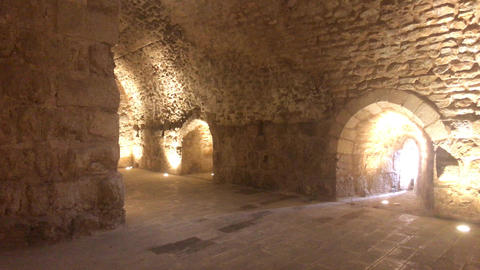 Ajloun, Jordan - stone rooms with illumination in the old castle part 10 Live Action