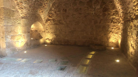 Ajloun, Jordan - stone rooms with illumination in the old castle part 16 Live Action