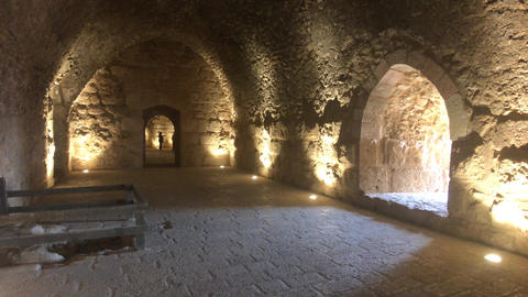 Ajloun, Jordan - stone rooms with illumination in the old castle part 12 Live Action