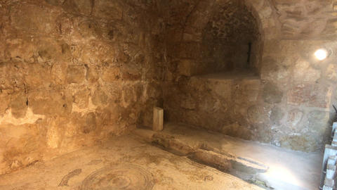 Ajloun, Jordan - stone rooms with illumination in the old castle part 17 Live Action