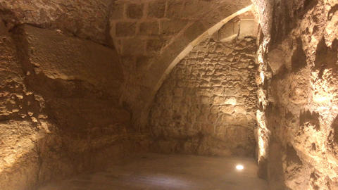 Ajloun, Jordan - stone rooms with illumination in the old castle Live Action