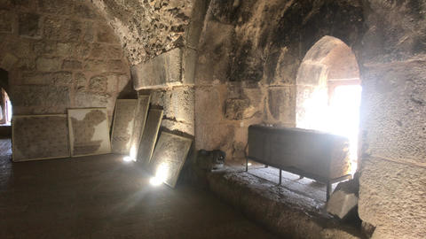 Ajloun, Jordan - stone rooms with illumination in the old castle part 8 Live Action