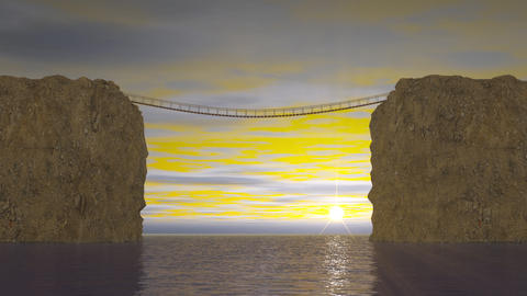 Suspension bridge on sea sunset Animation