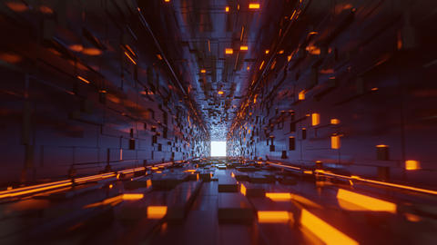 Flythrough sci fi abstract cubic corridor 5K Videos animados