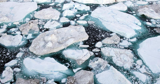 Iceberg and ice from glacier in arctic nature landscape on Greenland Live Action