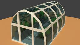 Low Poly Greenhouse 3D Model