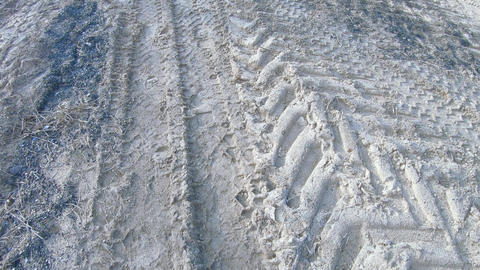 Traces of tractor on sand ライブ動画