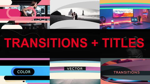 Vector Transitions with titles After Effects Template