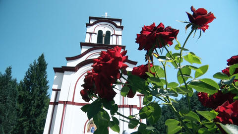 Orthodox Monastery from the Middle Ages and flowers in front GIF