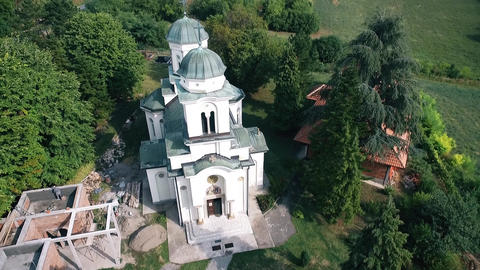Aerial over the old and preserved Orthodox monastery GIF