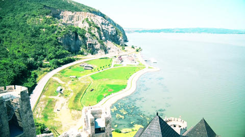 Beautiful views of the landscape and the Danube River GIF