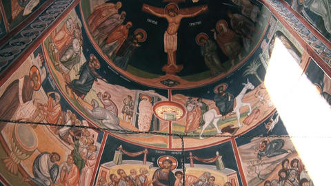 Holy icons on the ceiling of the Orthodox monastery GIF