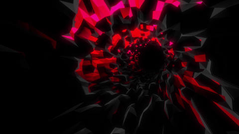 VJ Tunnel Loop Of Mysterious Cyber Cave With Red And Pink Glowing Sides And Alternating Lighting Animation