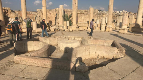Jerash, Jordan - October 15, 2019: tourists walk on stone roads part 2 Live Action