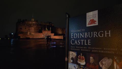 Edinburgh Castle - beautiful night view - EDINBURGH, SCOTLAND - JANUARY 10, 2020 Live Action
