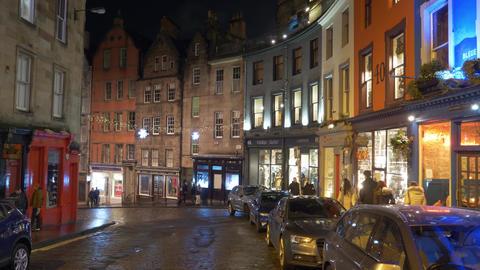 Colorful buildings in the historic district of Edinburgh - EDINBURGH, SCOTLAND - Live Action