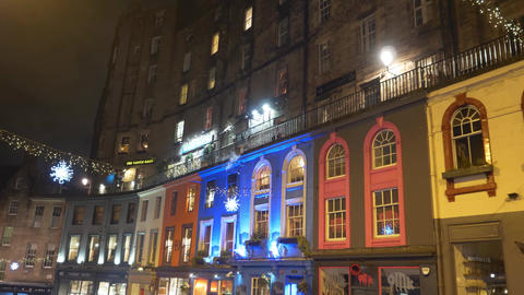 Colorful buildings in the historic district of Edinburgh… Stock Video Footage