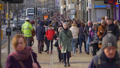 Princes Street Edinburgh is a popular and busy road - EDINBURGH, SCOTLAND - Live Action