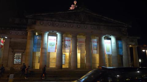 The Royal Scottish Academy in Edinburgh by night - EDINBURGH, SCOTLAND - JANUARY Live Action