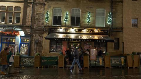 Pub at Grassmarket in Edinburgh by night - EDINBURGH, SCOTLAND - JANUARY 10 Live Action