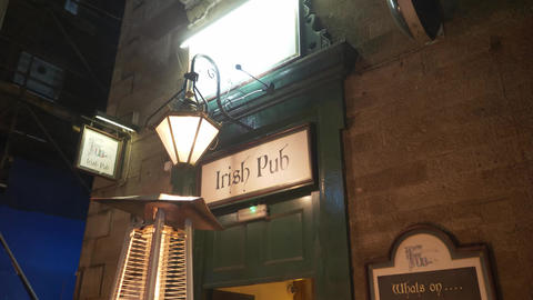 Authentic Irish Pub in Edinburgh - EDINBURGH, SCOTLAND - JANUARY 10, 2020 Live Action